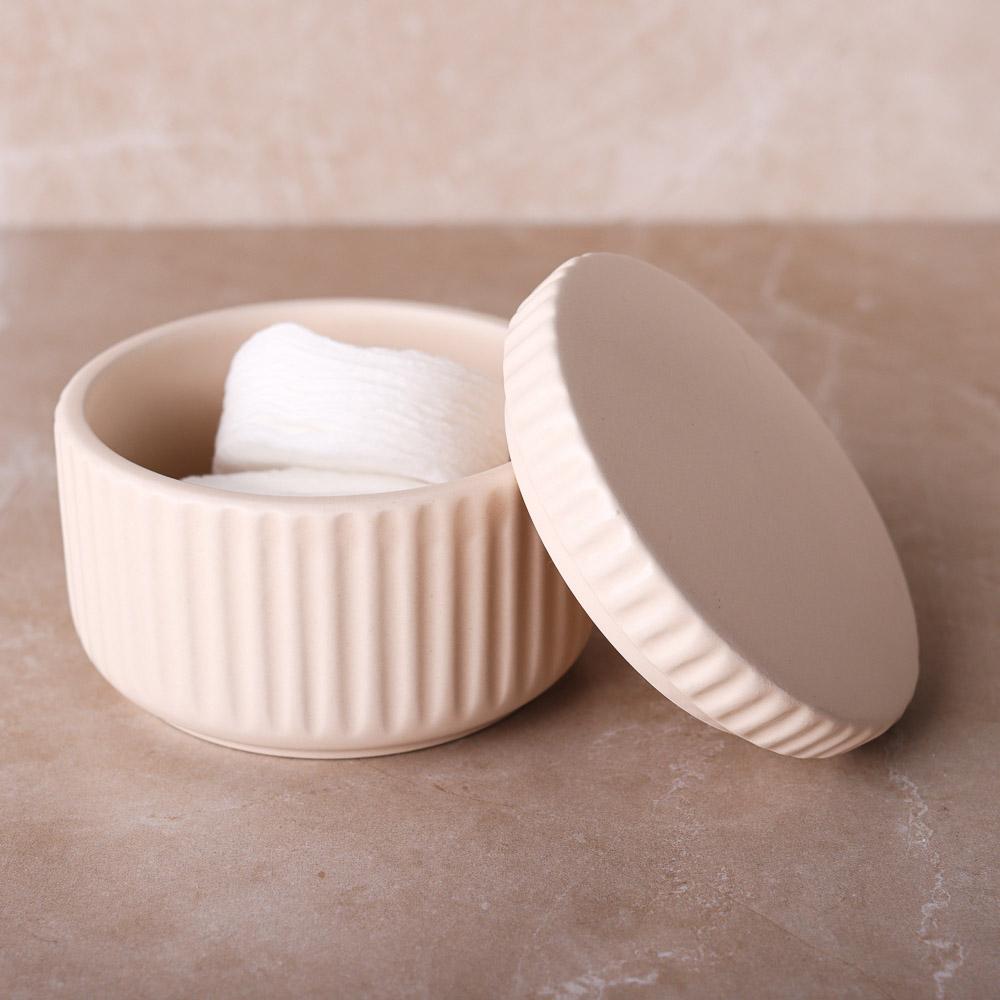 """VETTA Контейнер для ватных дисков/палочек """"Вертикаль"""", керамика, 3 цвета"""