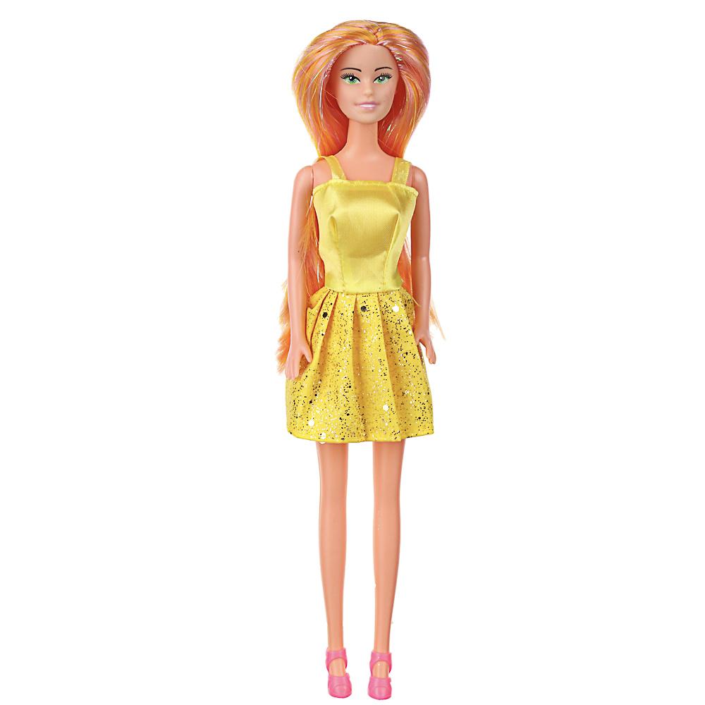 ИГРОЛЕНД Кукла в стильном платье, 29см, цветные волосы, ABS, полиэстер, 6,5х29,5х4,5см, 6 дизайнов