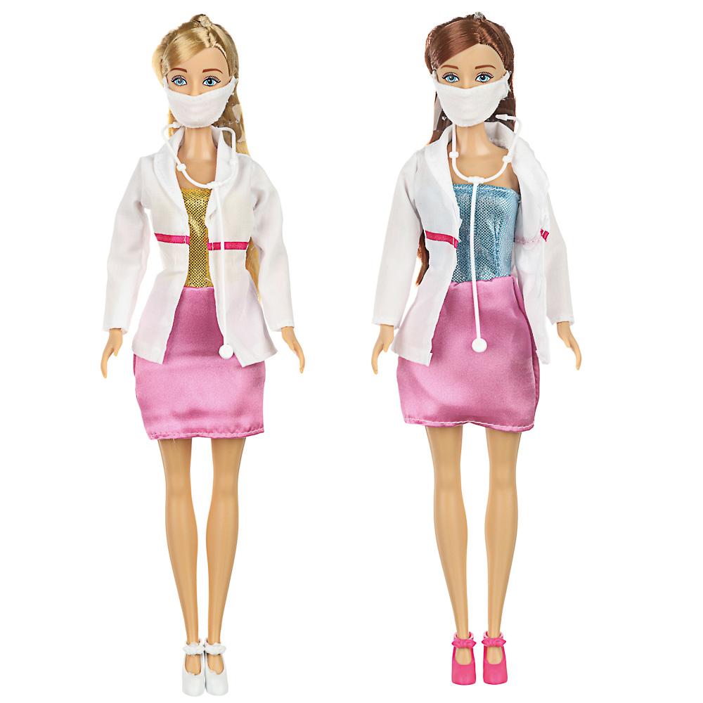 ИГРОЛЕНД Кукла-доктор в маске с аксессуарами, 12пр., ABS, PVC, полиэстер, 16х32х5,5см, 2 дизайна