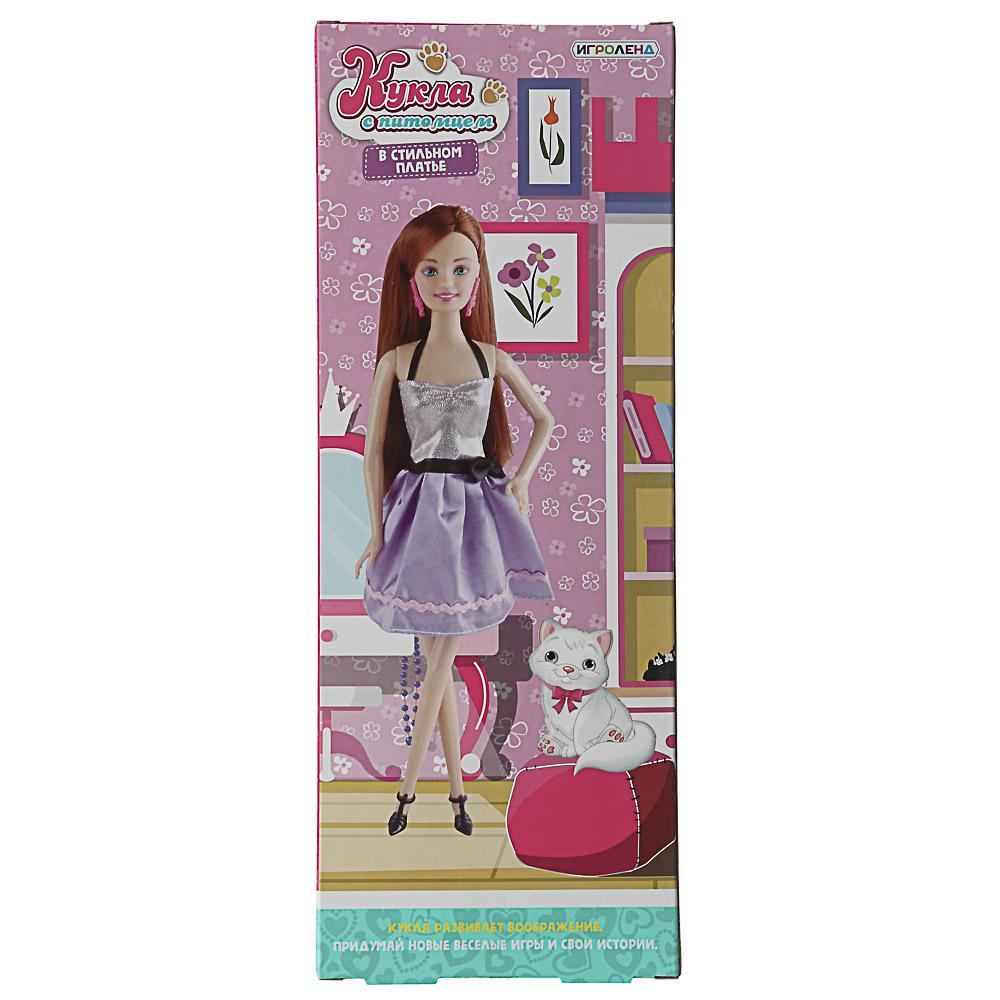 ИГРОЛЕНД Кукла в стильном платье с питомцем, ABS, полиэстер, 12х32х5,5см, 2 дизайна