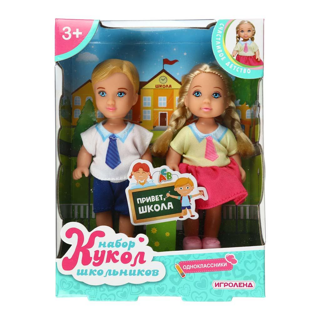 ИГРОЛЕНД Набор кукол в виде маленьких школьников, 11,5см, ABS, полиэстер, 12х16х4, см