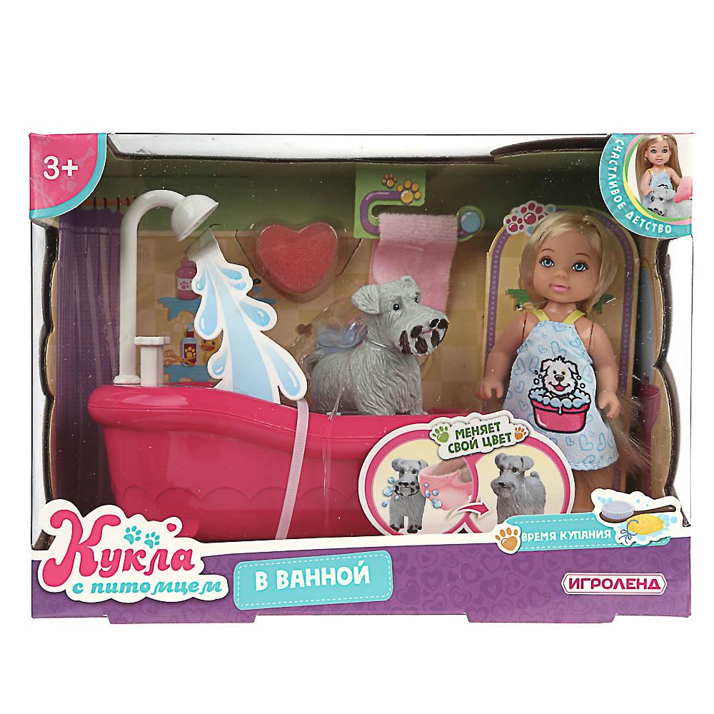 ИГРОЛЕНД Кукла с питомцем (меняет цвет) в ванной, 5 пр., 11,5см, ABS, ПВХ, полиэстер, 22х16х9см