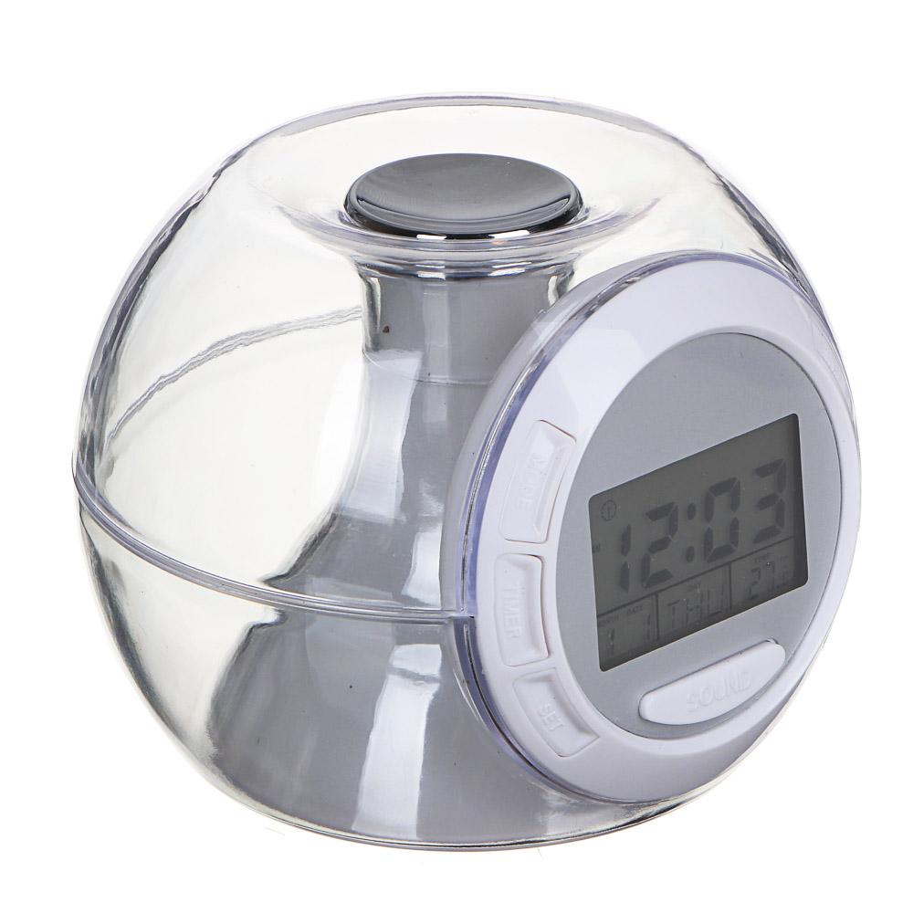 LADECOR CHRONO Будильник с ЖК-дисплеем, 3хAAA, терм-р, звуки, 10,5х9,5х8,2см, пластик, 7реж свеч
