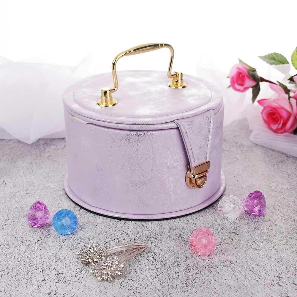 LADECOR Шкатулка для украшений с зеркалом и съемным ярусом с секциями, 16х9,5см, полиэстер, 2 цвета