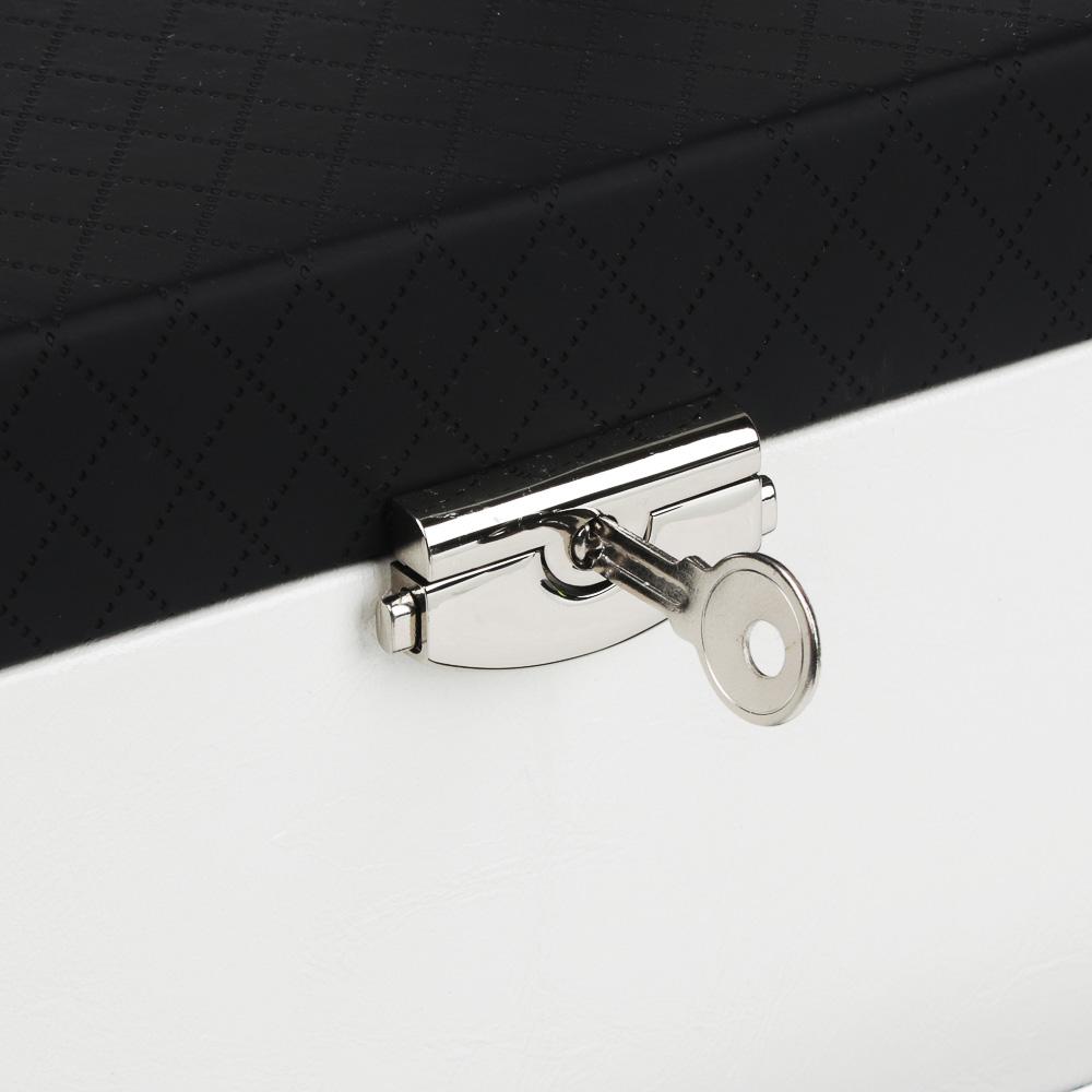 LADECOR Шкатулка для украшений с зеркалом и съемным ярусом с секц., 2в1, 24х15х11,5см, полиэстер