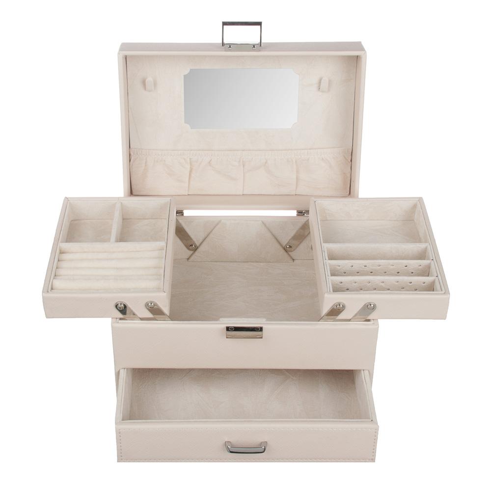LADECOR Шкатулка для украшений с зеркалом, 2 выдвижных яруса с секциями, 22,5х15,5х14см, полиэстер
