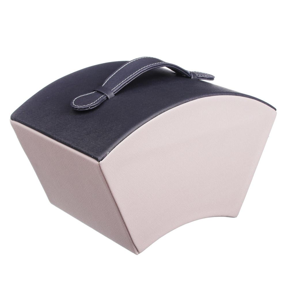 LADECOR Шкатулка для украшений с зеркалом и съемным ярусом с секциями, 25х16х14см, полиэстер