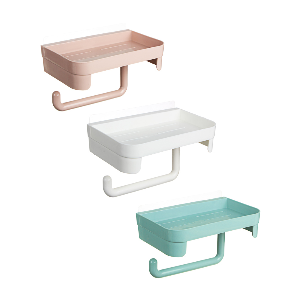 VETTA Держатель туалетной бумаги с полочкой самоклеящийся, пластик, 11х11,5х18см, 3 цвета