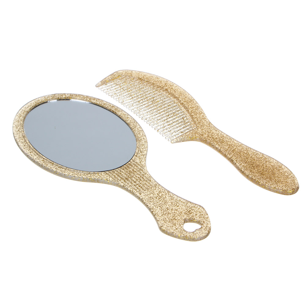 ЮниLook Набор зеркало с расческой, пластик, 18см, золото, серебро