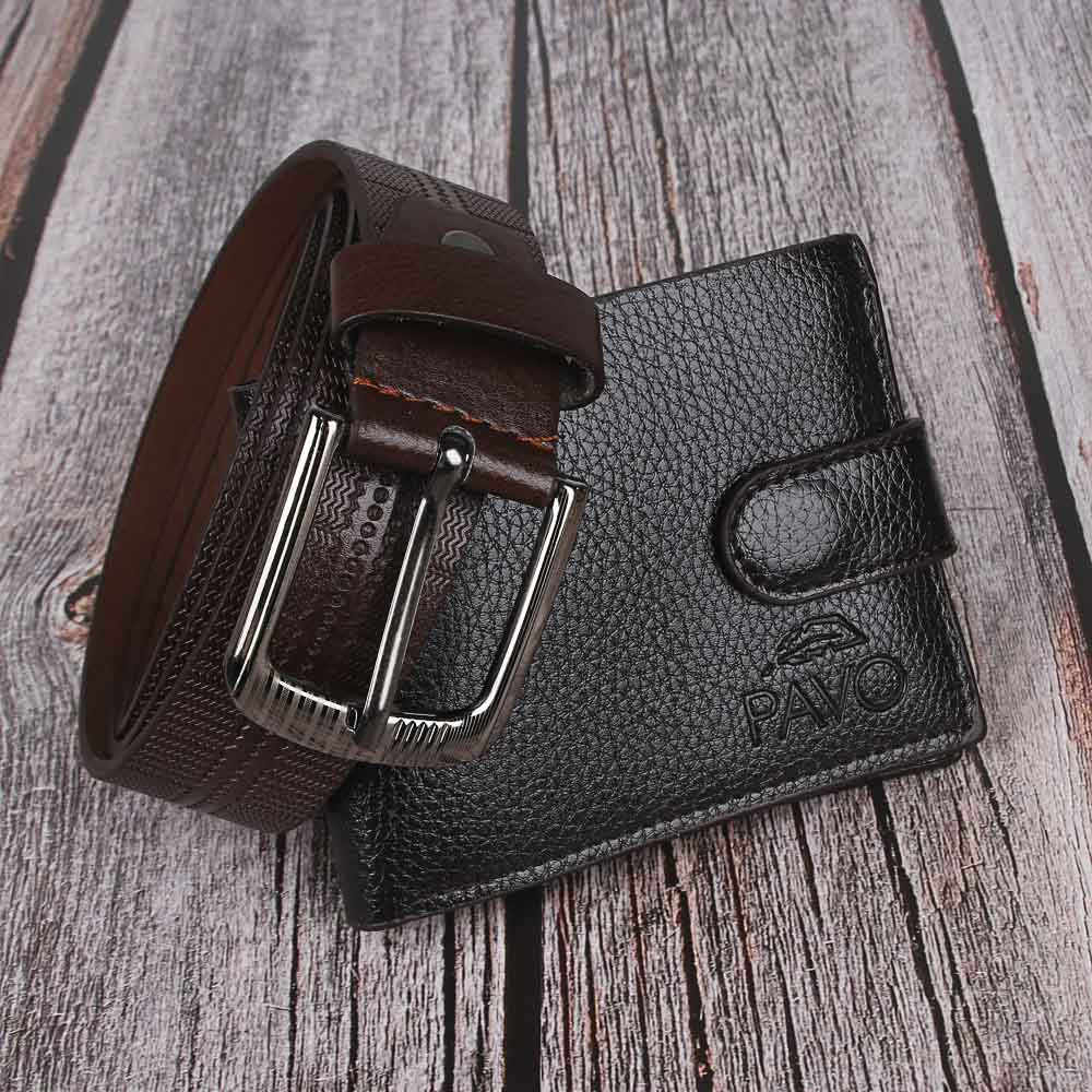 PAVO Ремень мужской 120х3,2см + портмоне на застежке 11х9см, ПУ, металл, цвет коричневый, 2 диз