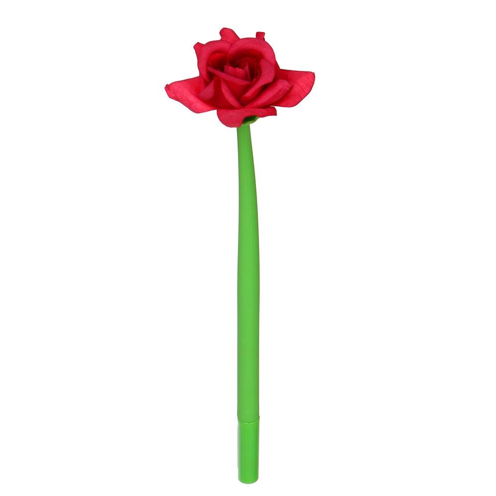 Ручка шариковая синяя, в форме розы, гибкий силиконовый корпус, 23,5см, 4 цв.бутона, пластик, пакет