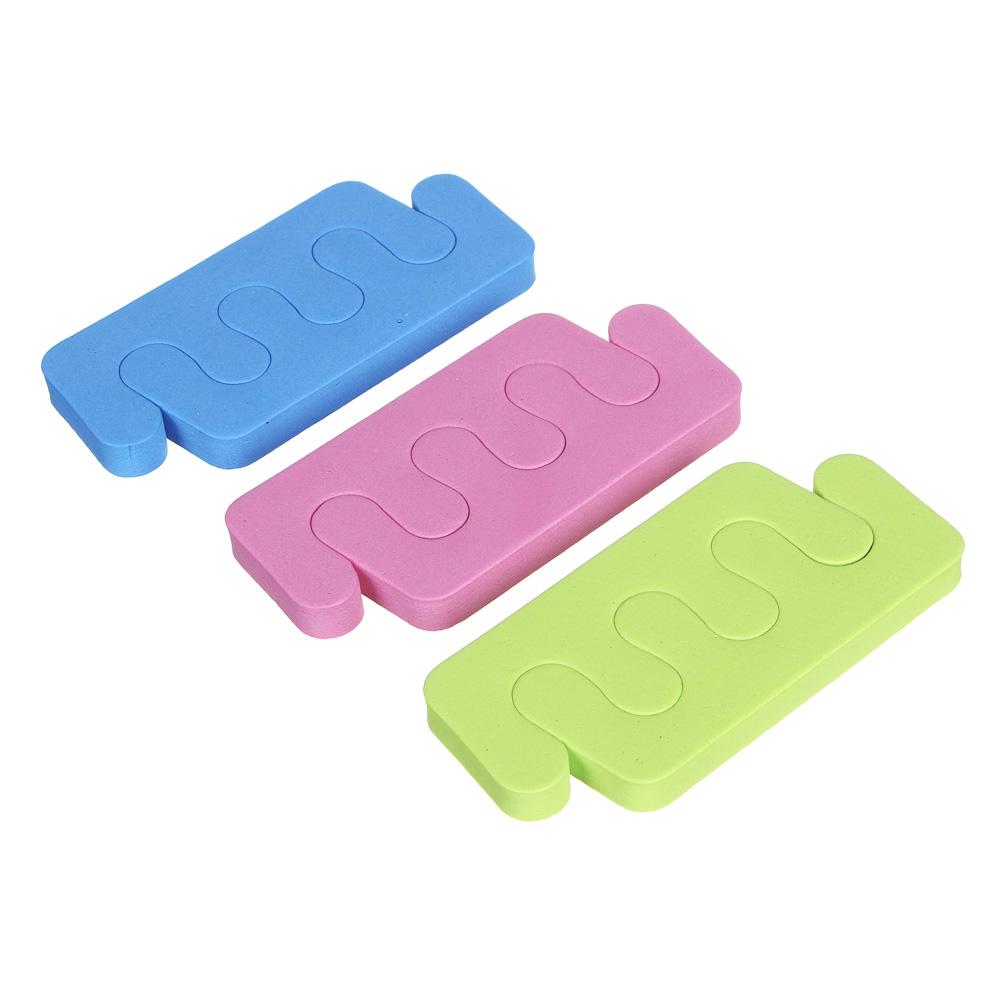 Разделители для пальцев 2 шт ЮниLook, 9,5х4,5 см, 3 цвета