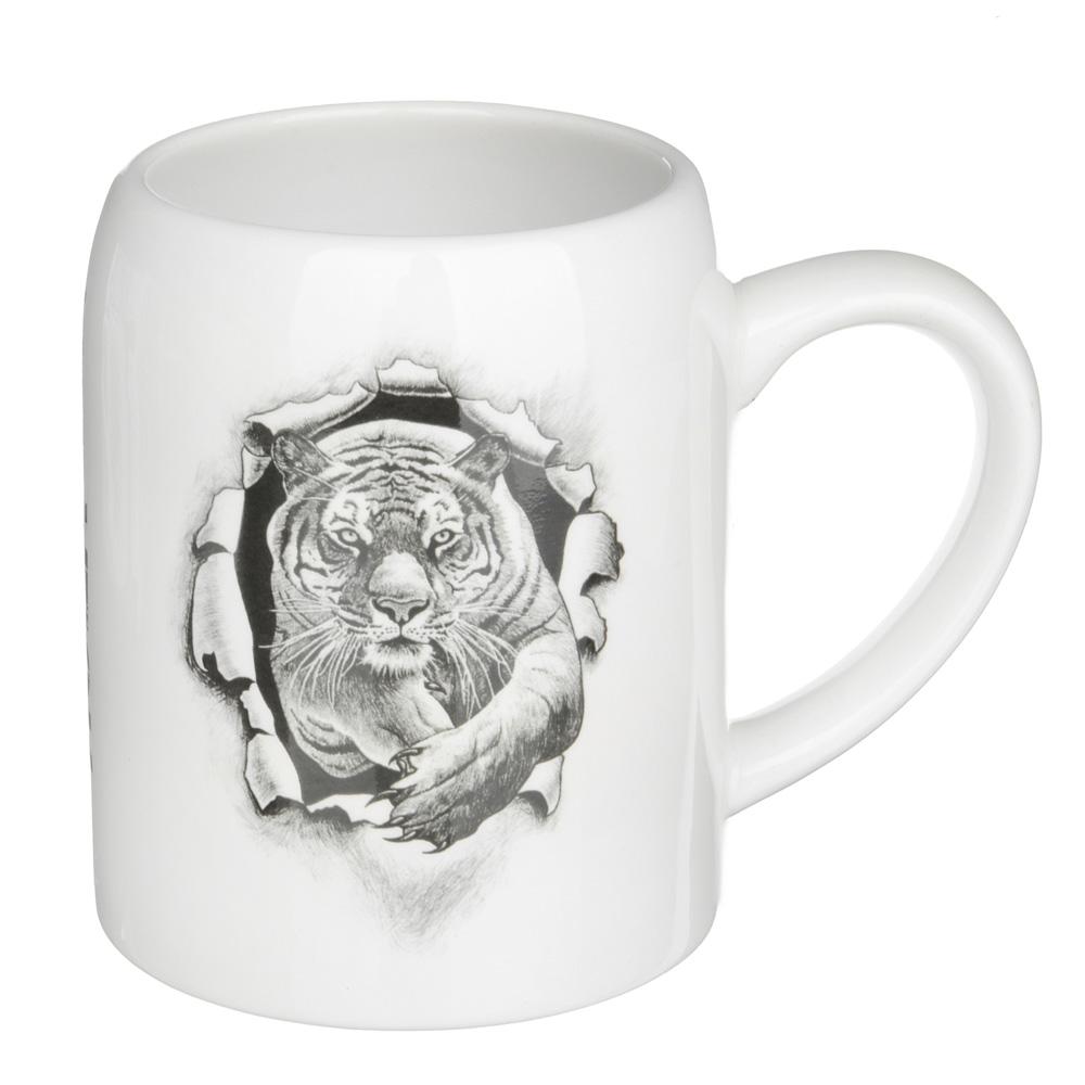 """Кружка пивная 550мл, керамика, 4 дизайна, """"Царь зверей"""", подар. упаковка"""