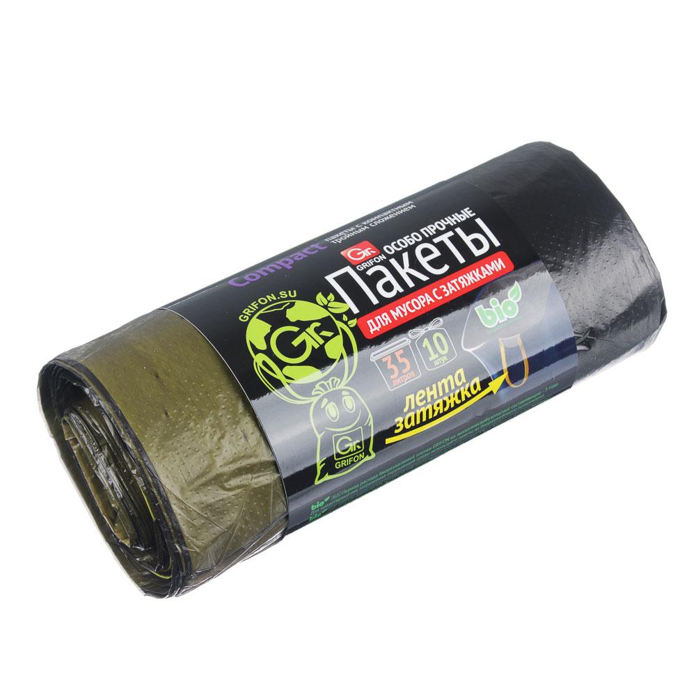 GRIFON Мешки для мусора с завязками БИО, 35л, 10шт, особо прочные 15мкм, в рулоне