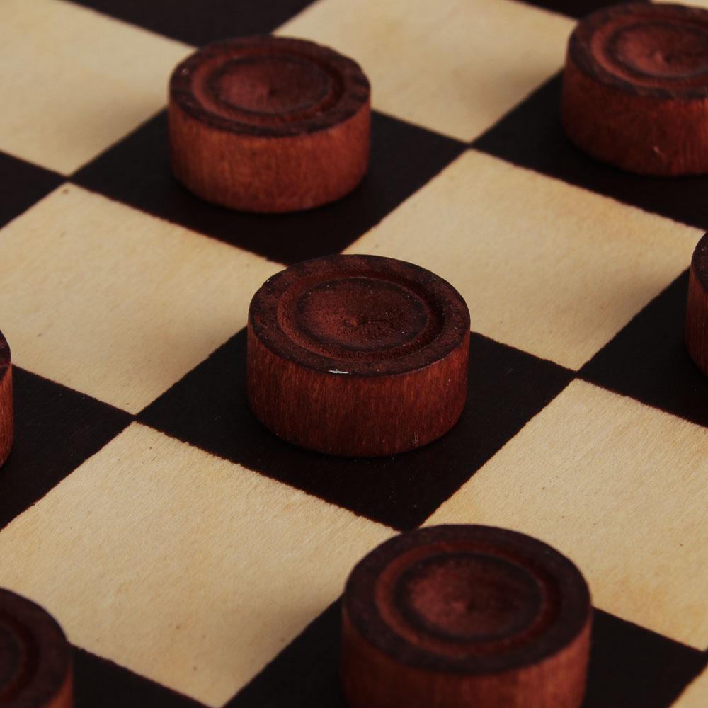 Шашки деревянные в деревянной доске, 29x14,5x3,8см