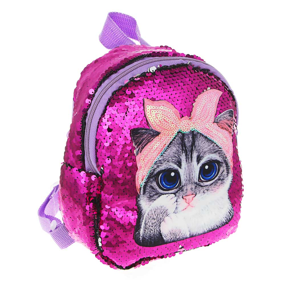 ИГРОЛЕНД Рюкзак детский, разноцветные пайетки, пластик, полиэстер, 19х20см, 4 дизайна