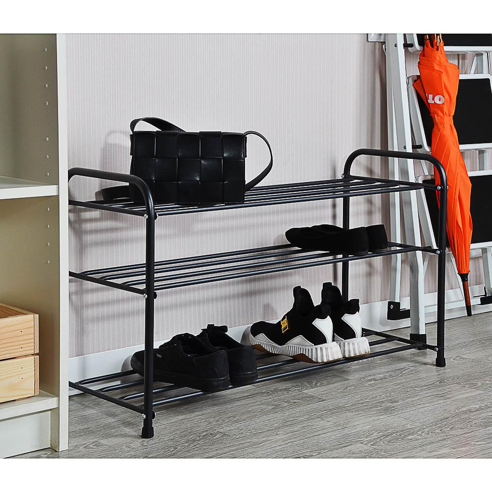 Подставка для обуви - 3 полки, 80см, металл, чёрная, арт.ПО382