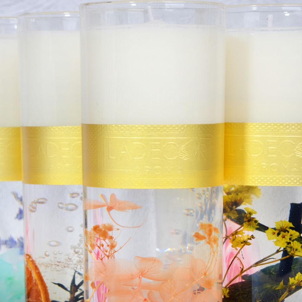 LADECOR Свеча ароматическая с декором, в стеклянном подсвечнике, 16,5см, 4 вида