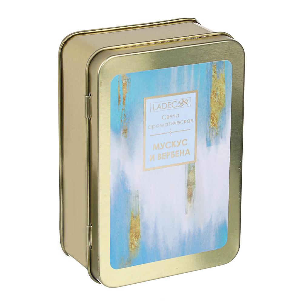 LADECOR Свеча ароматическая с в жестяной шкатулке, 11,5x8x4,3, 170г, 3 вида