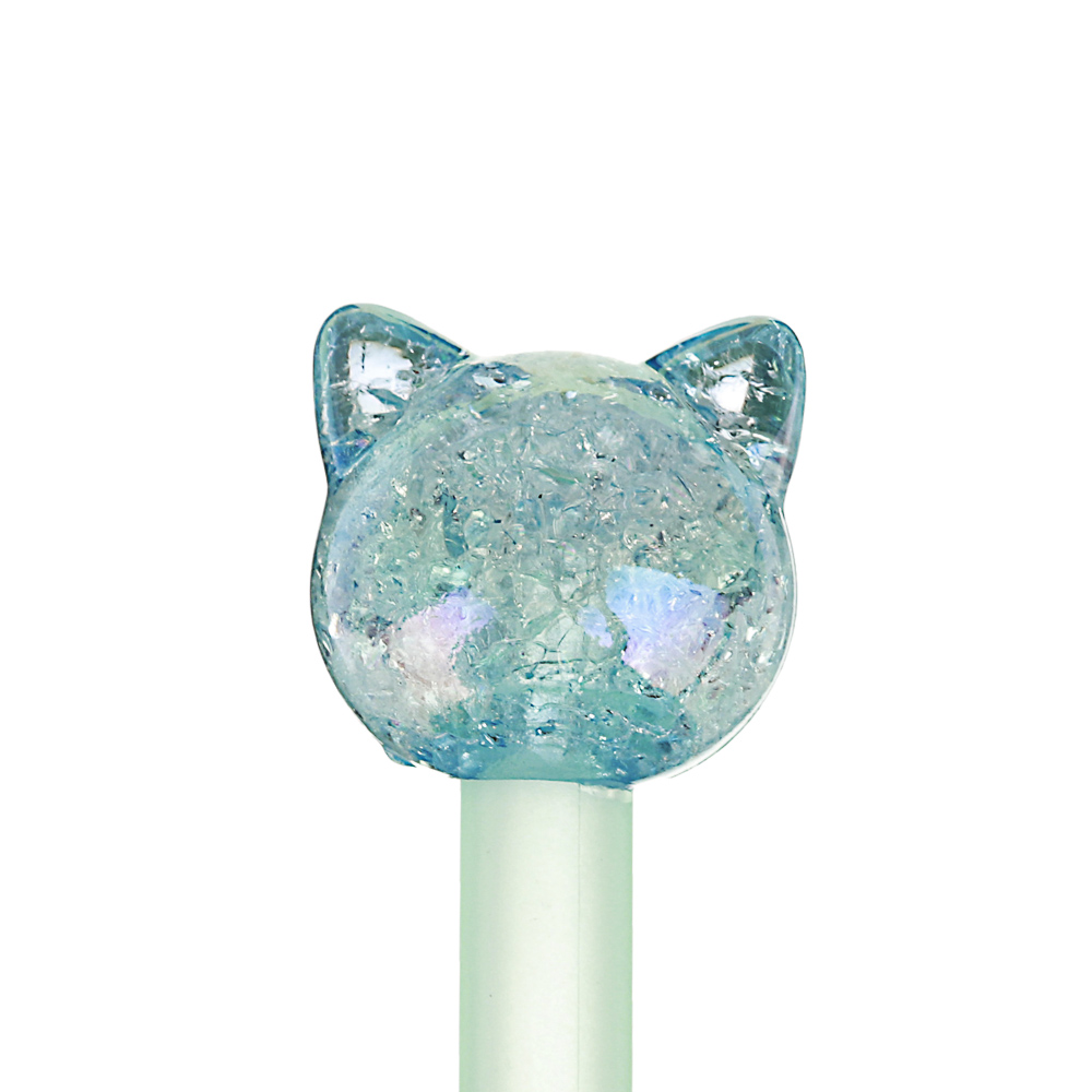 Ручка гелевая синяя, с акрил.наконечником в форме единорога/котика, пластик, 17,5-19см, 3 цв.корпуса