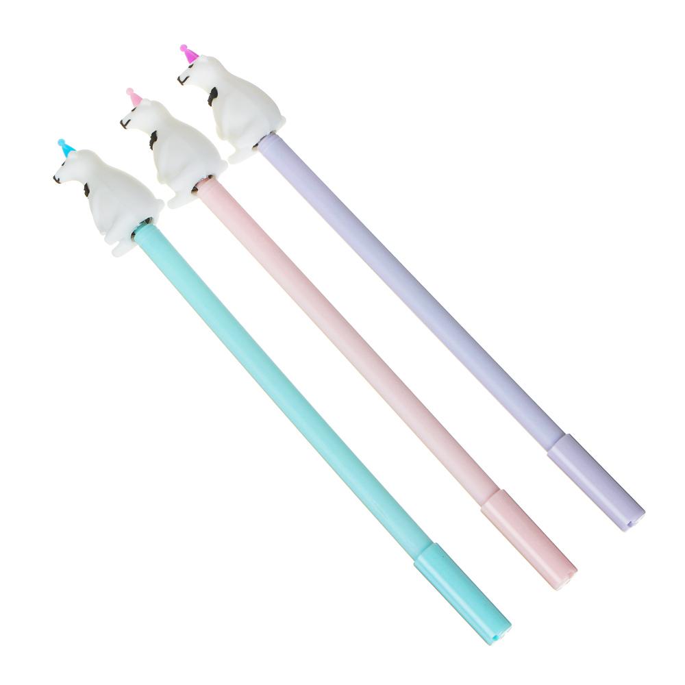 Ручка гелевая синяя, с вращающимся наконечником в форме мишки, пластик, 21см, 3 цвета корпуса