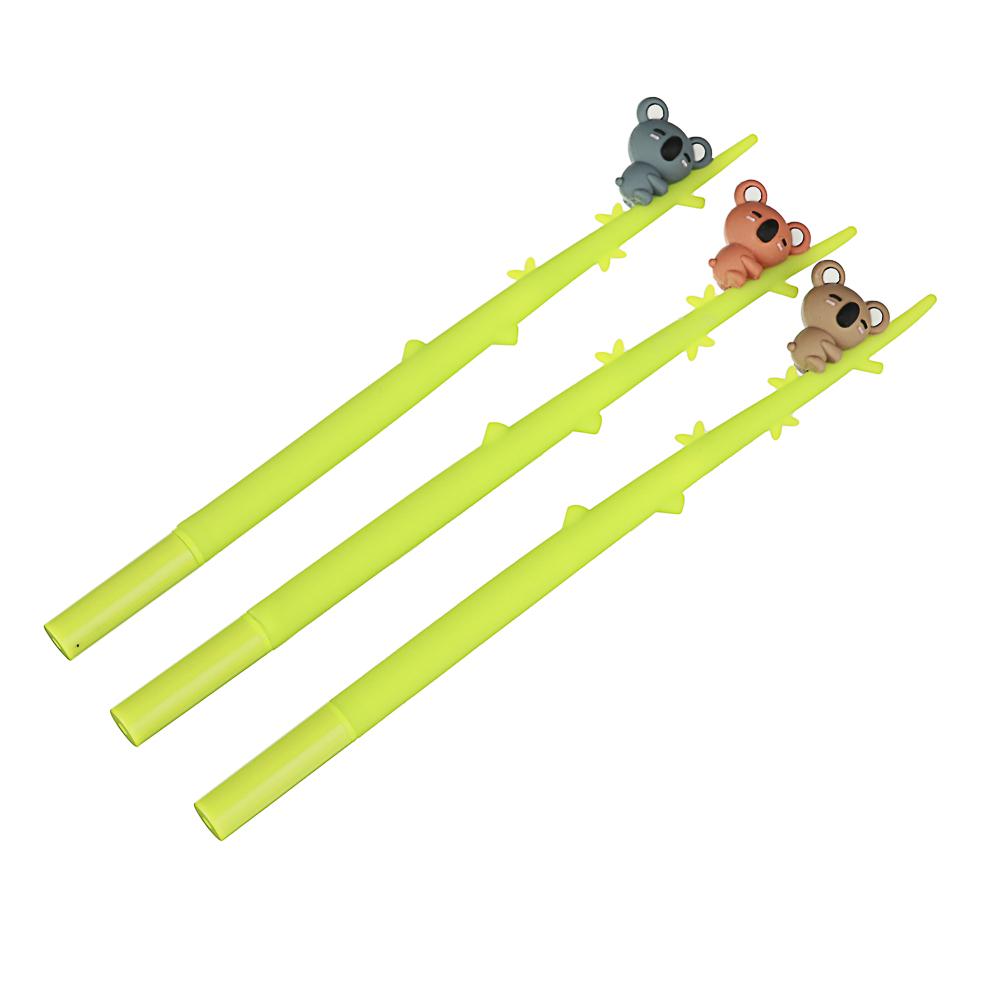 Ручка гелевая синяя, гибкий силиконовый корпус в форме коалы на ветке, пластик, 22см, 3 дизайна