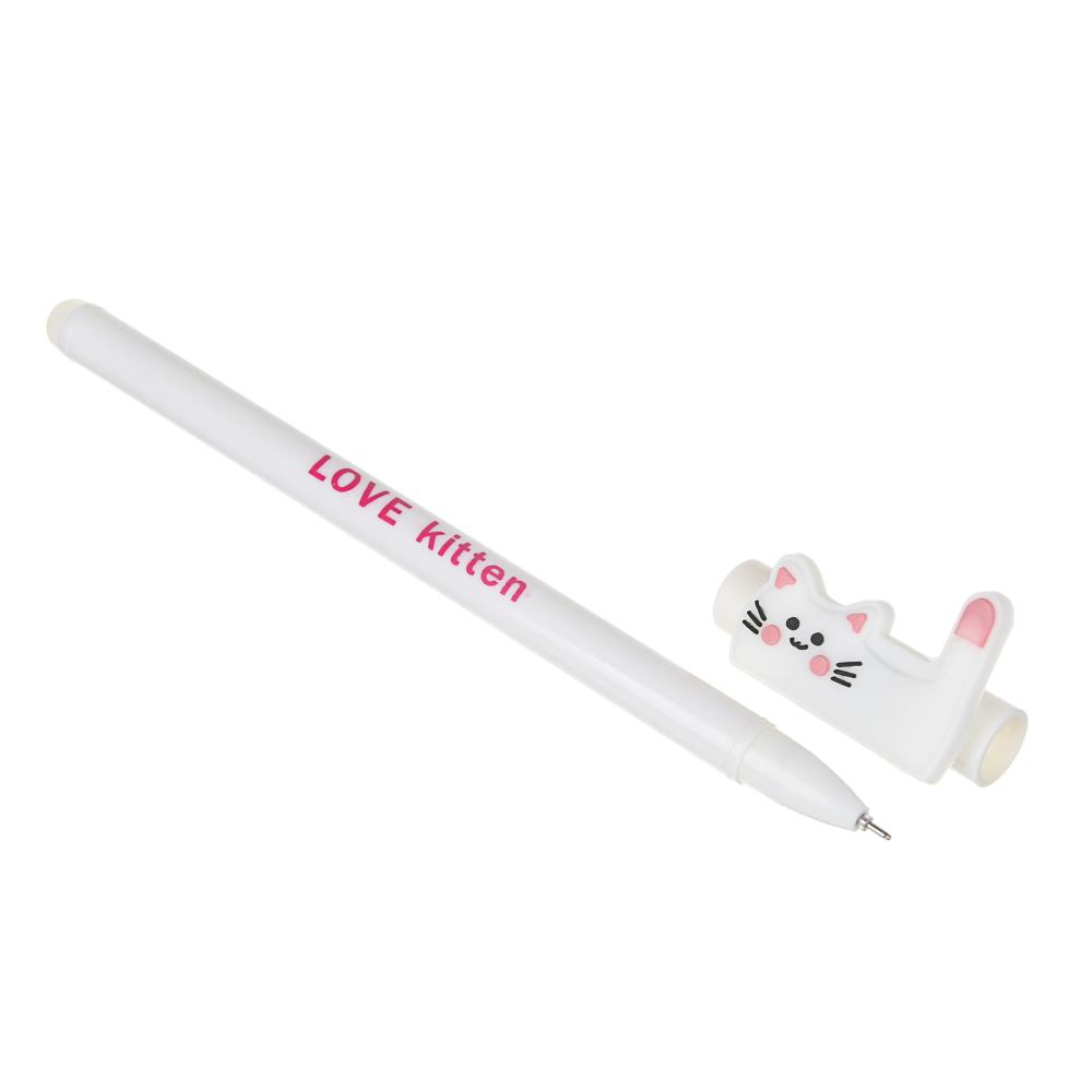 """Ручка гелевая """"Пиши-стирай"""" синяя, фигурка в форме котика в виде букв L,O,V,E, пластик, 16,2см, 4диз"""