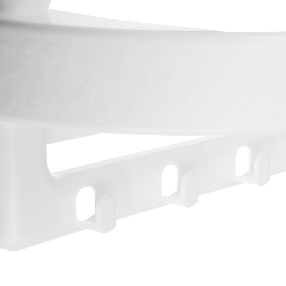 Полка универсальная, 4 крючка, пластик, 27,4х14х19,5см, белая