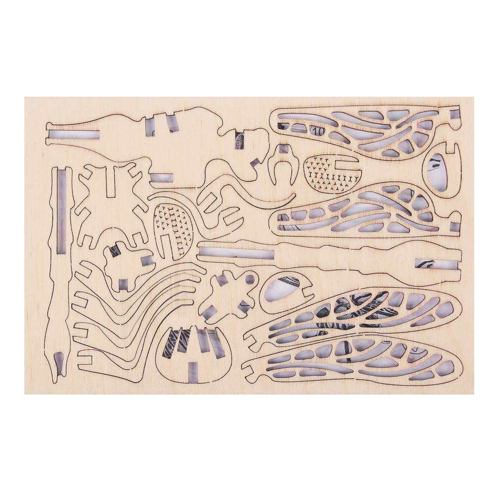ХОББИХИТ Конструктор деревянный 3D сборная модель, 10х15х0,5см, 10 дизайнов