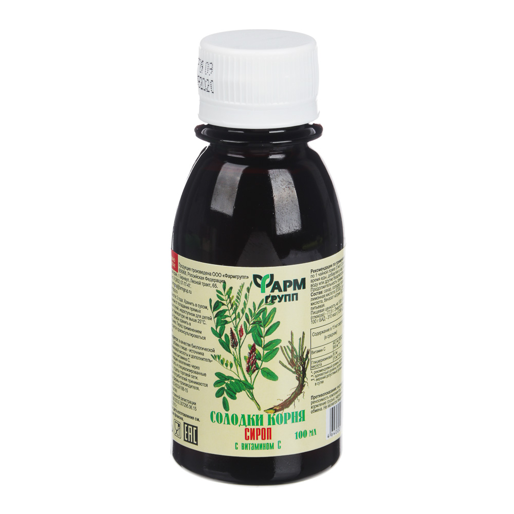 БАД Сироп солодки корня с витамином С, 100мл, инд.уп.