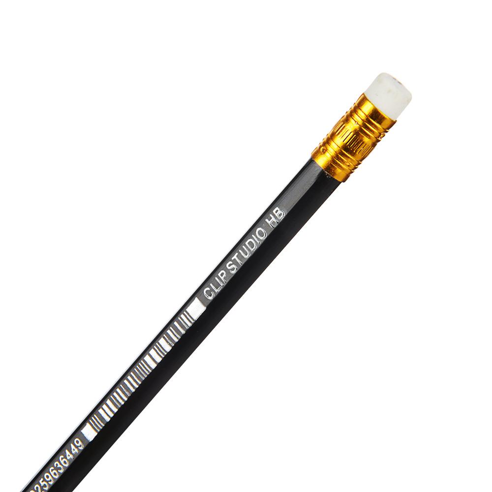 ClipStudio Карандаш чернографитный с ластиком, шестигранный, корпус под черное дерево, пластик