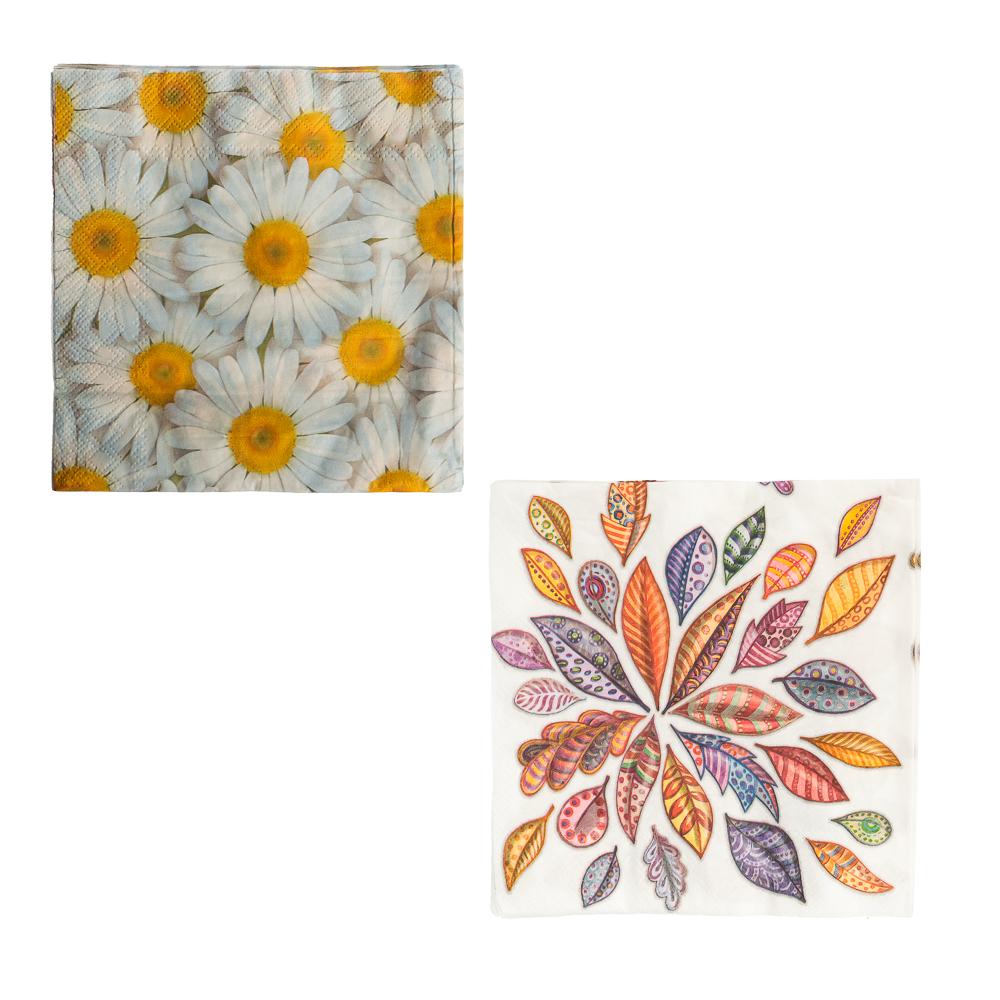Салфетки бумажные 20шт, двухслойные, 33x33см