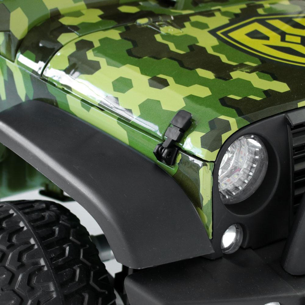 BY Электромобиль полноприводный, свет, звук, 12V10AH PP, металл, 150x95x77см, зеленый милитари