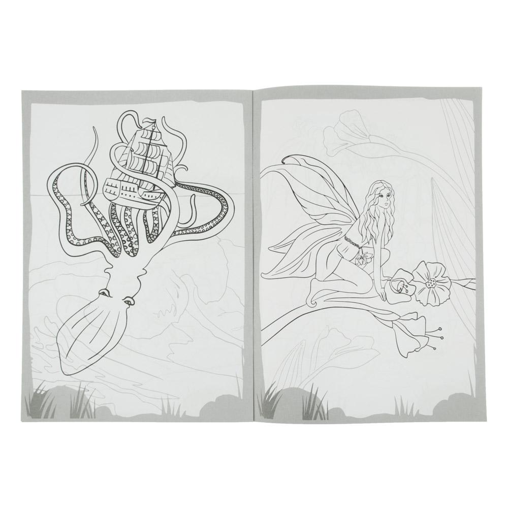 """ХОББИХИТ Раскраска с наклейками """"Раскрась и наклей"""", 12 стр., бумага, 21х30см, 10 видов"""