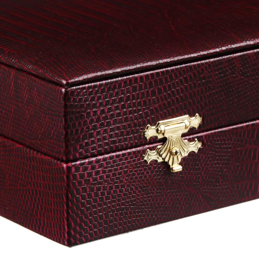 Шкатулка для украшений с секциями, 25,5х13х5,5см, иск.кожа, бордовый