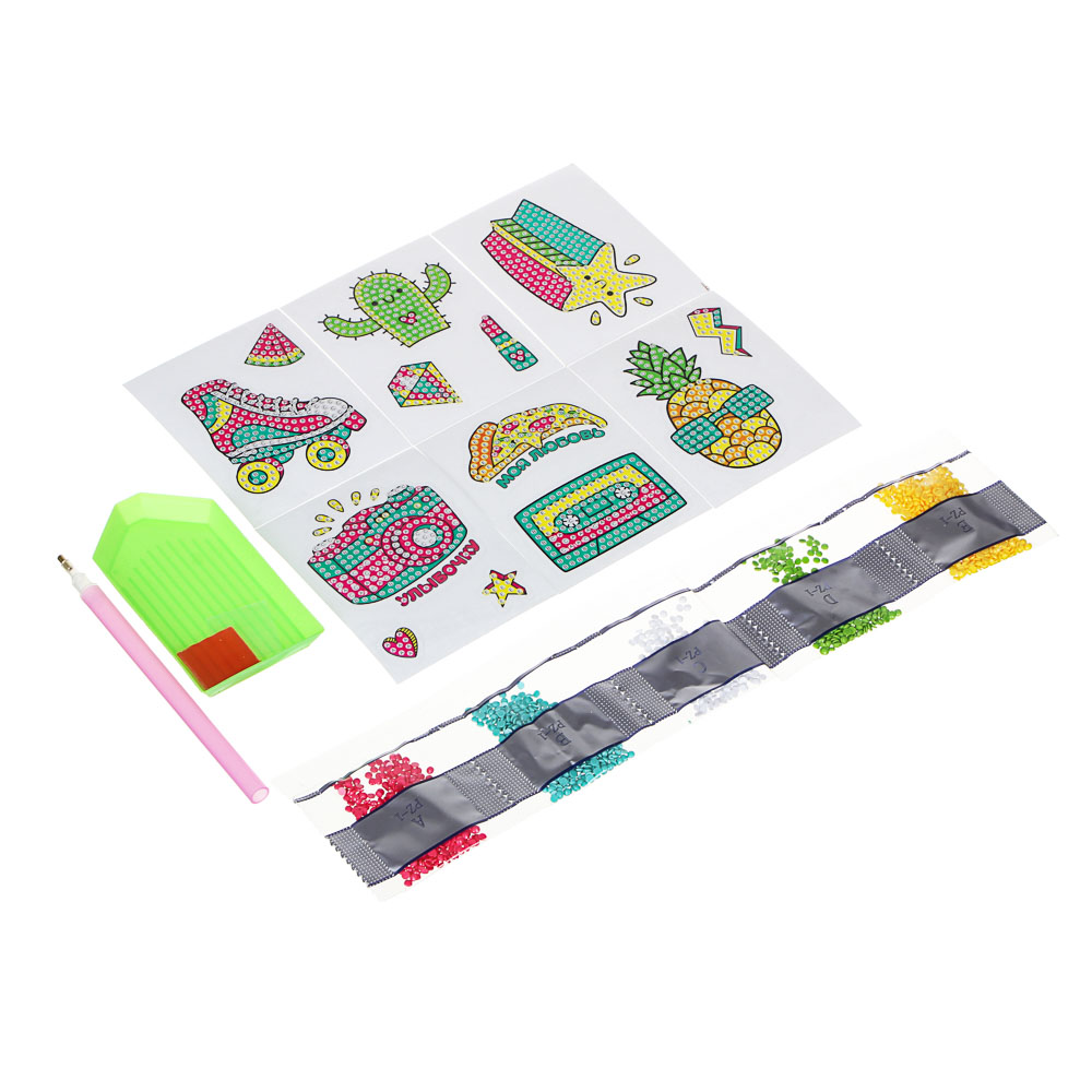 ХОББИХИТ Набор наклеек Аппликация стразами, бумага, пластик, 15x10x2,3 см, 4 дизайна