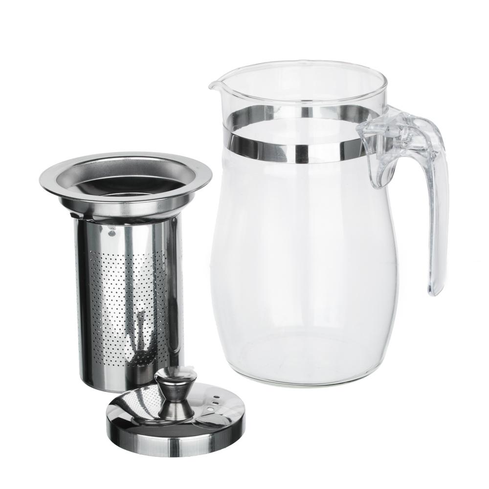 VETTA Чайник заварочный 750мл с ситечком, нерж.сталь, стекло, полистирол