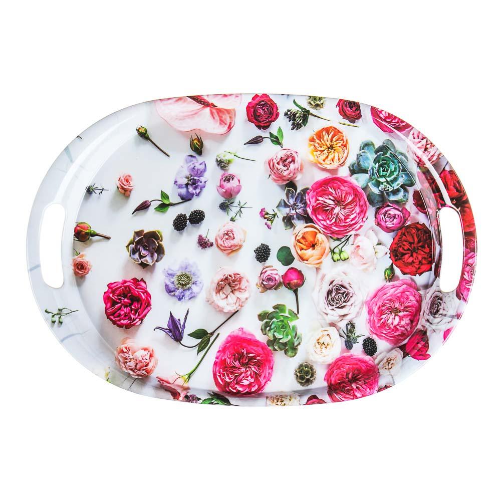VETTA Цветы Поднос овальный, пластик, 38,5х27х3см, 2 дизайна