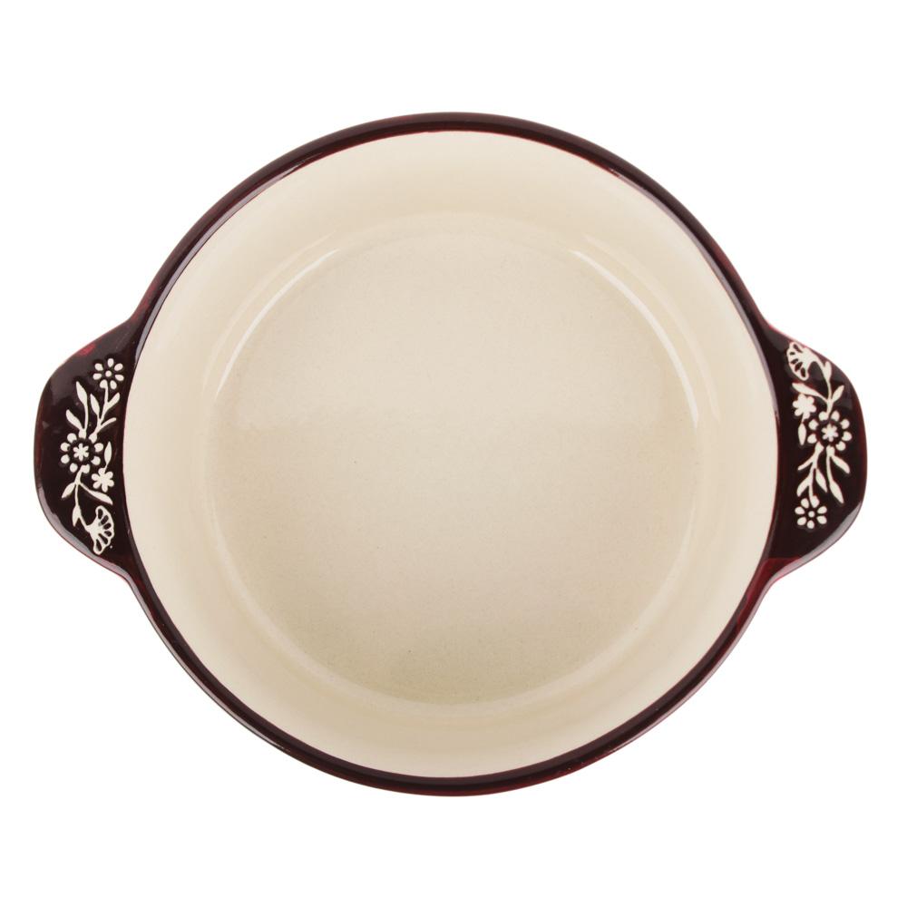 MILLIMI Горшочек с крышкой для запекания и сервировки, керамика, 16,5х13,5х10см, 480мл, красный