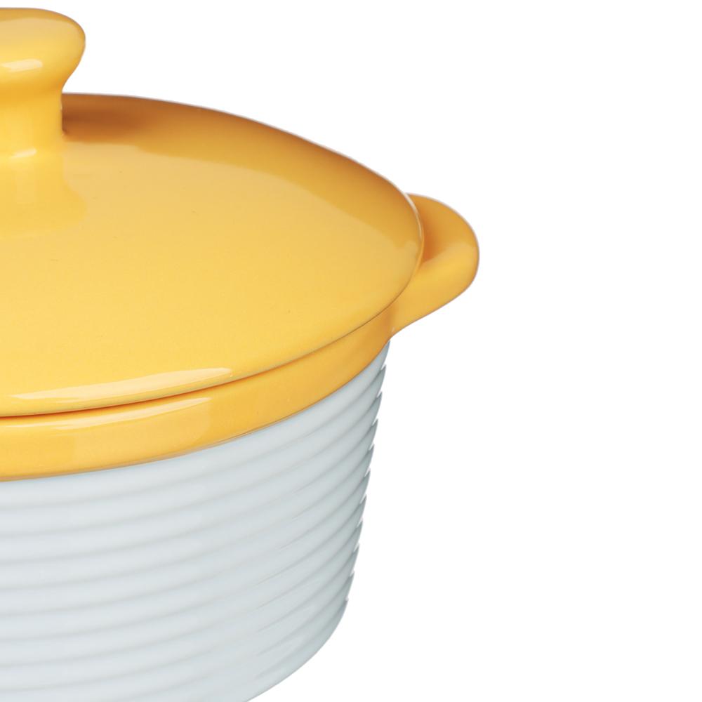 MILLIMI Горшочек с крышкой для запекания и сервировки, керамика, 16,5х13,5х10,5см,480мл, рельеф,2 цв