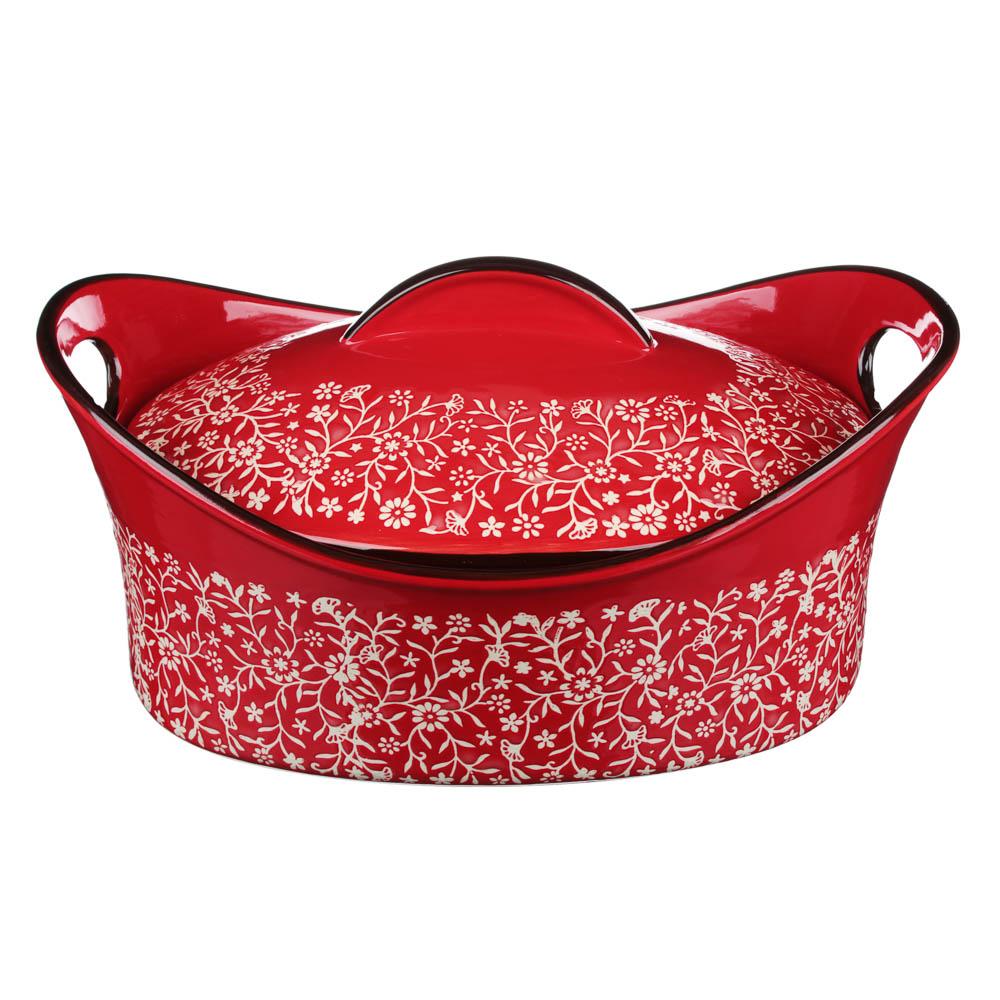 MILLIMI Утятница с крышкой, керамика, 31,5х21,5х14см, красный