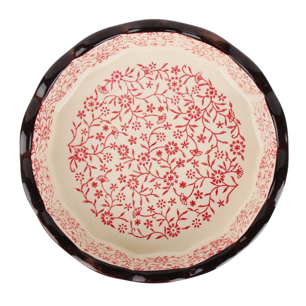 MILLIMI Форма для запекания и сервировки круглая, керамика, 22х4,5см, красный