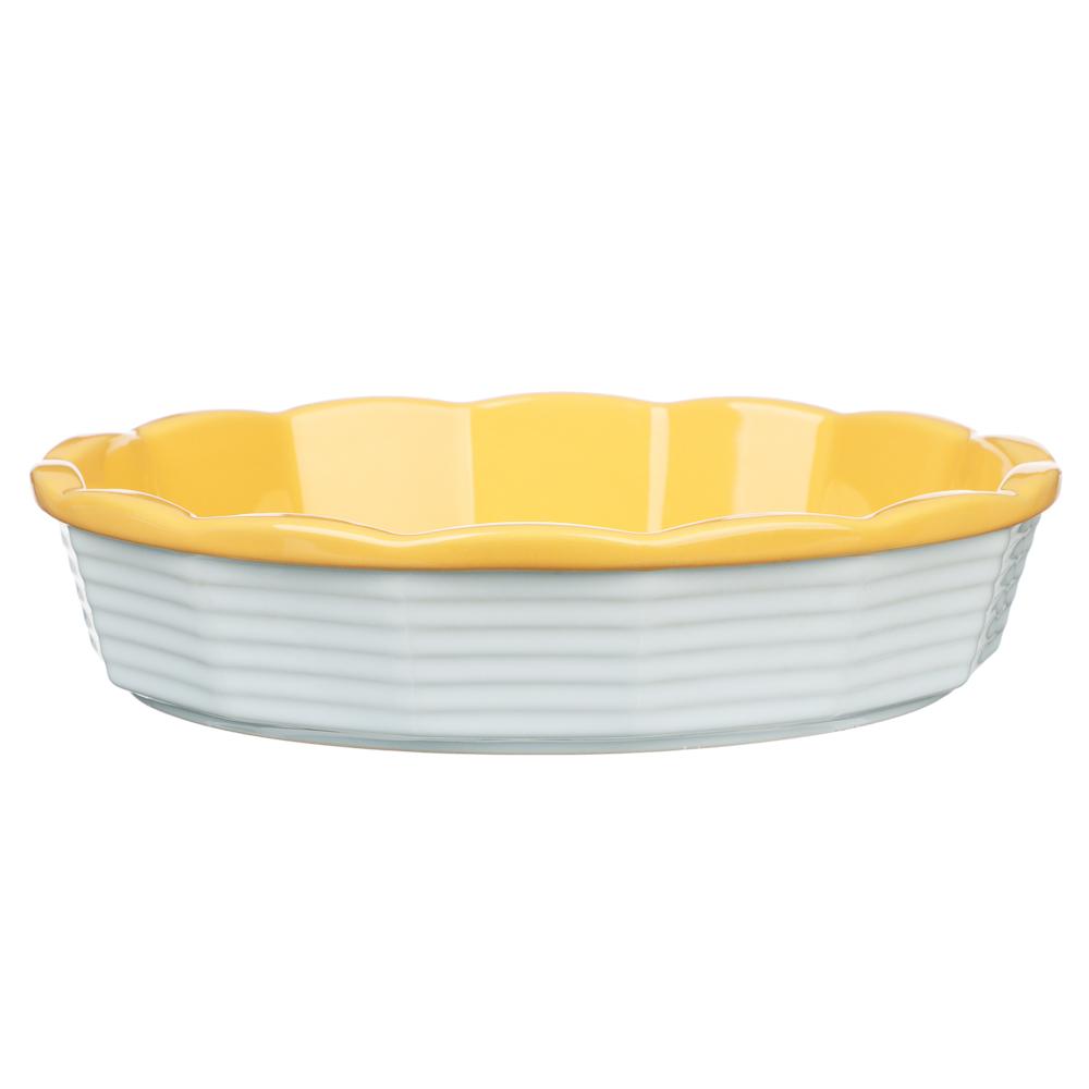 MILLIMI Форма для запекания и сервировки круглая, керамика, 22х5см, рельеф, 2 цвета
