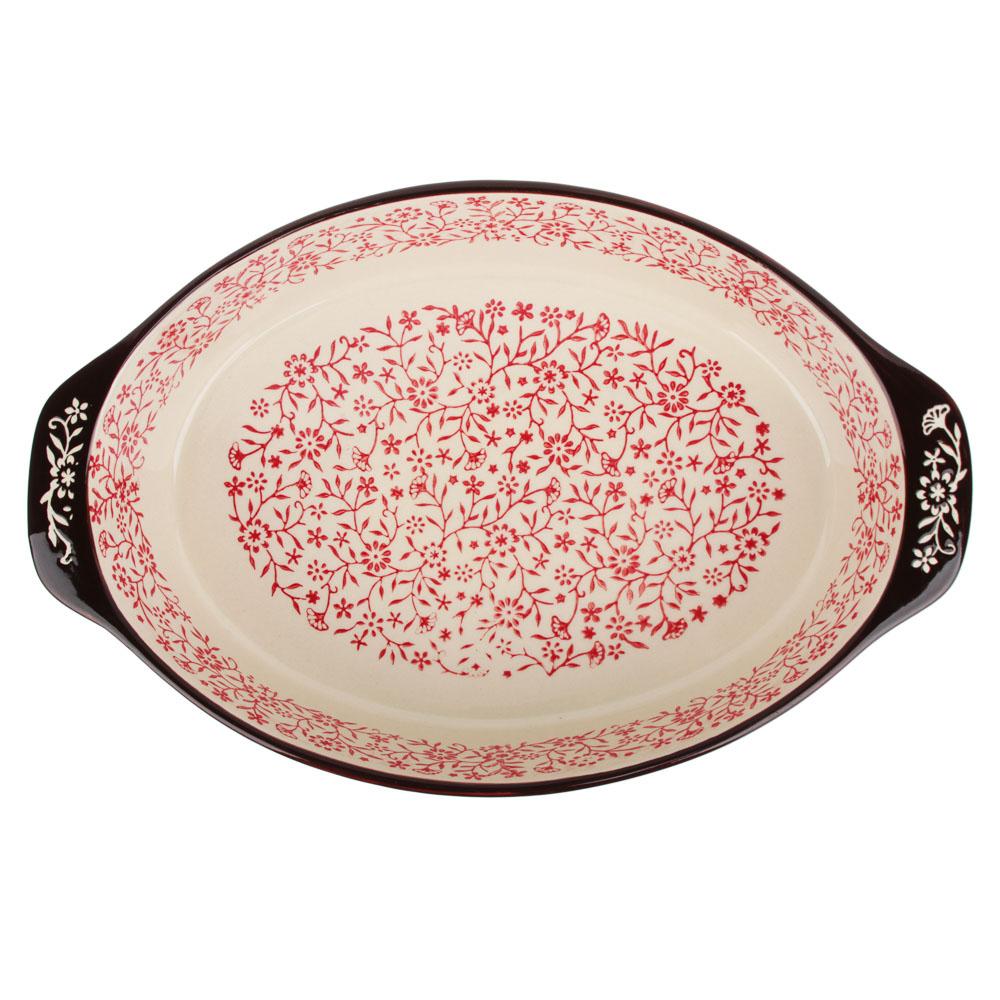 MILLIMI Форма для запекания и сервировки овальная с ручками, керамика, 31х20х6см, красный