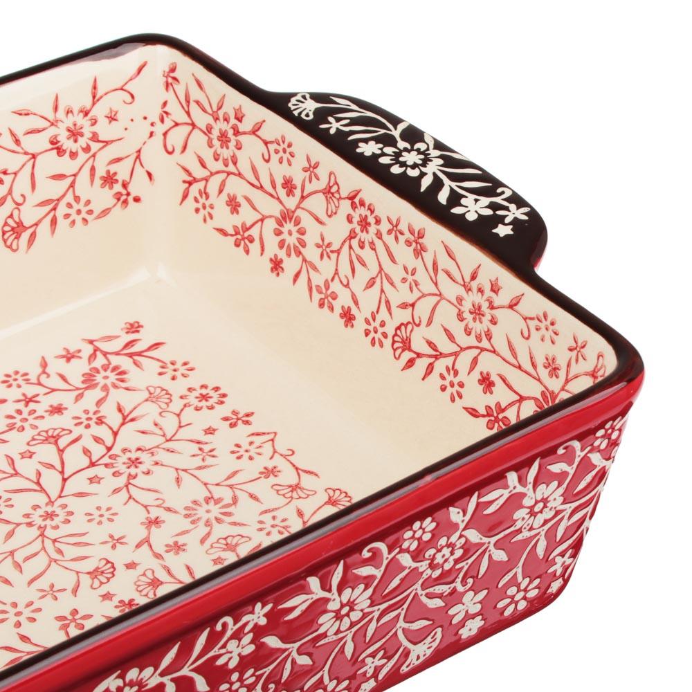 MILLIMI Форма для запекания и сервировки прямоугольная с ручками, керамика, 31х19,5х7см, красный