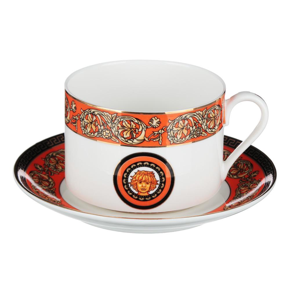 Рыжий Набор чайный 2 предмета (чашка 220мл, блюдце 13см), костяной фарфор, подарочная упаковка