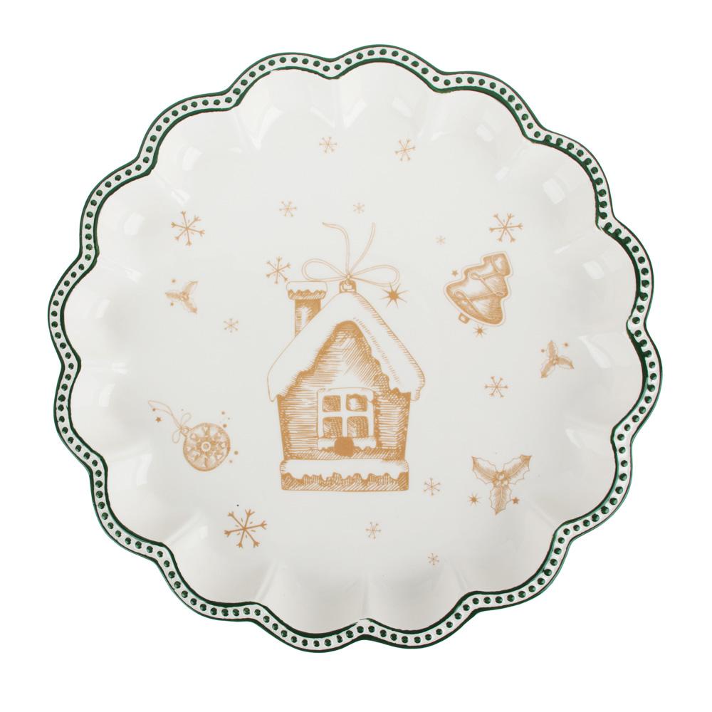 MILLIMI Пряничный домик Блюдо круглое с волнистым краем 30,5х3,5см, керамика