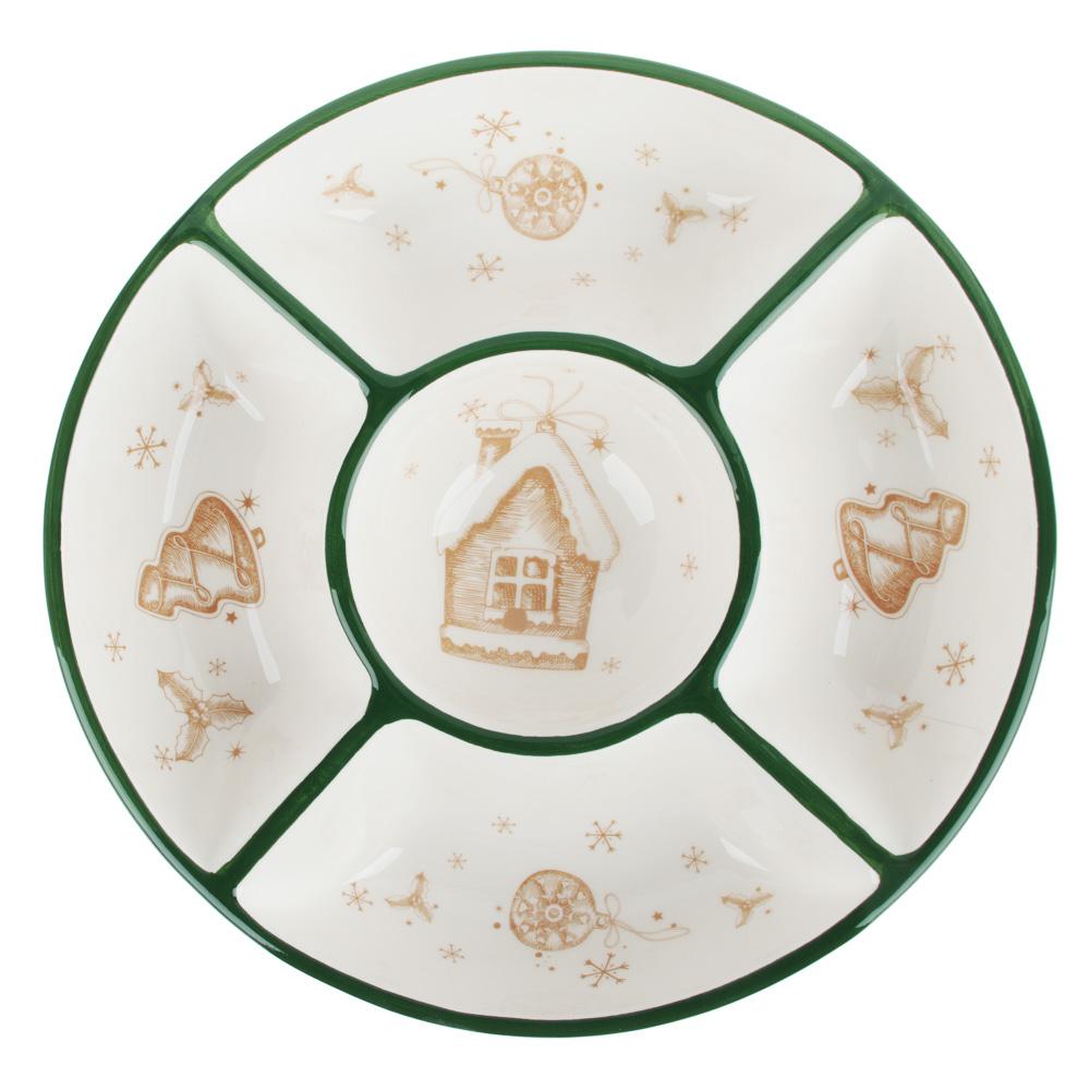 MILLIMI Пряничный домик Менажница 25х5см, керамика