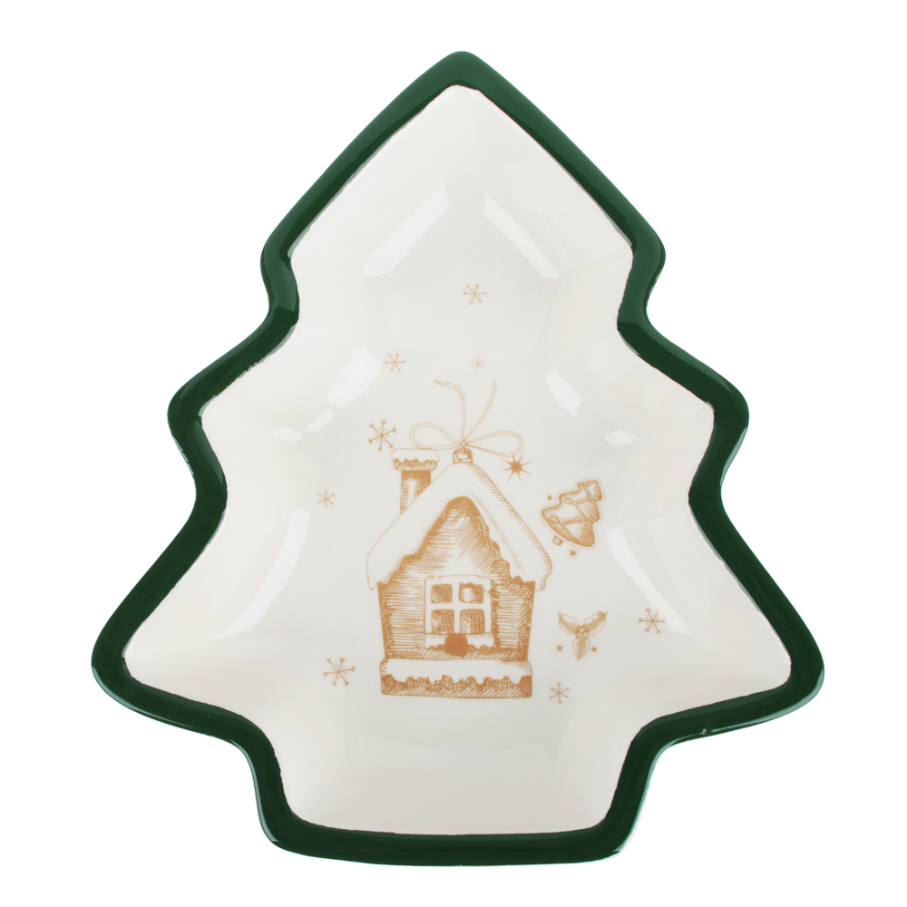MILLIMI Пряничный домик Салатник в форме елочки 30х26х6см, керамика