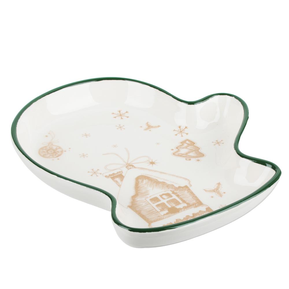 MILLIMI Пряничный домик Блюдо в форме варежки 20х17,5х3см, керамика